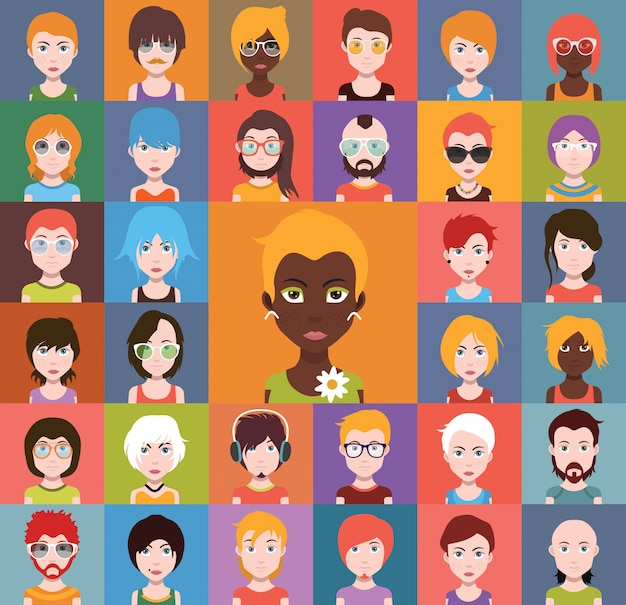 4703a2621ee34 Conjunto de iconos de personas en estilo plano con caras ...