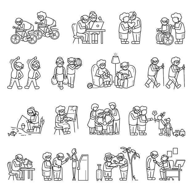 Conjunto de iconos de personas mayores, estilo simple Vector Premium