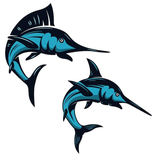 Conjunto de iconos de pez espada sobre fondo blanco. elementos para emblema, insignia, etiqueta, signo. ilustración Vector Premium