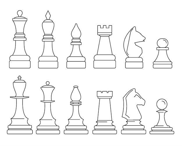 Conjunto de iconos de pieza de ajedrez Vector Premium