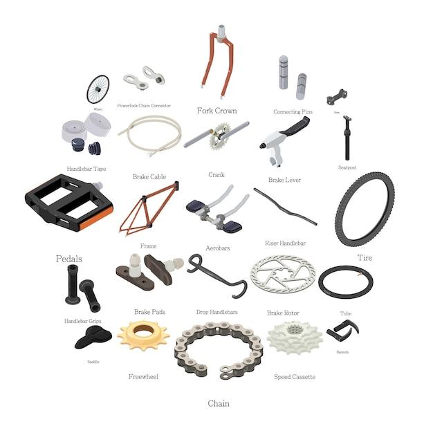 Conjunto de iconos de piezas de bicicleta, estilo isométrico Vector Premium