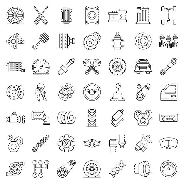 Conjunto de iconos de piezas de coche, estilo de contorno Vector Premium