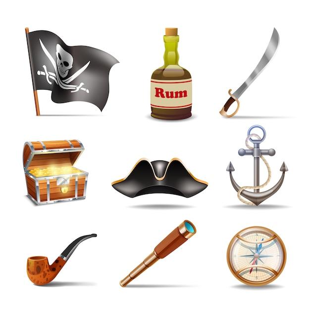 Conjunto de iconos pirata vector gratuito