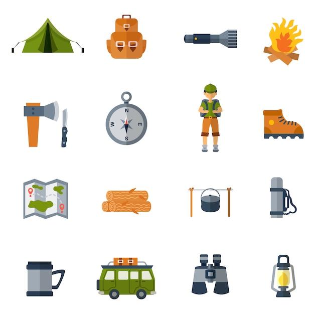 Conjunto de iconos planos de camping vector gratuito
