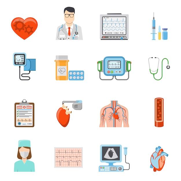 Conjunto de iconos planos de cardiología vector gratuito