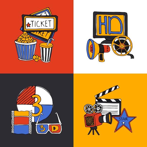 Conjunto de iconos planos de concepto de diseño de cine vector gratuito