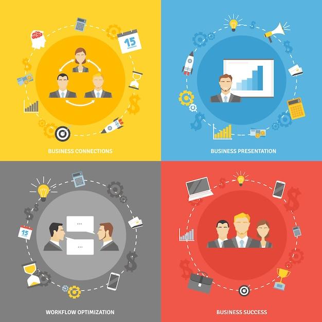 Conjunto de iconos planos de concepto de negocio vector gratuito