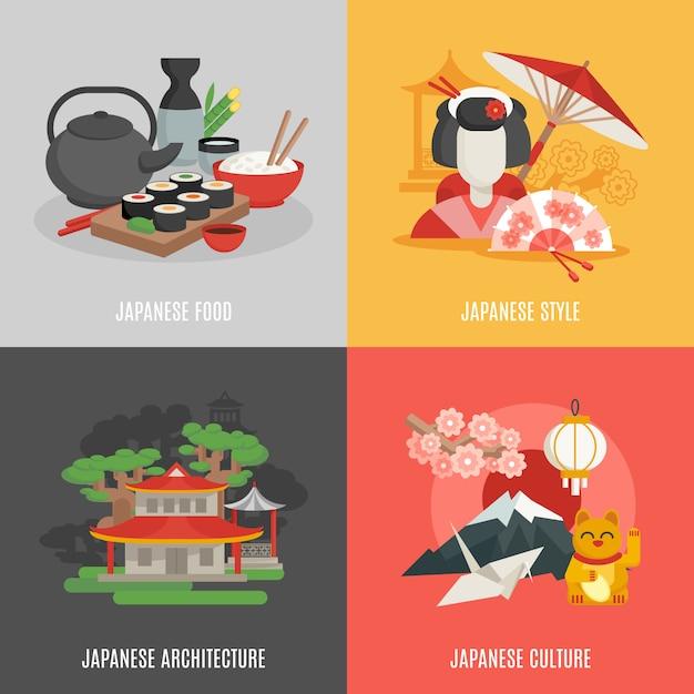 Conjunto de iconos planos de cultura japonesa vector gratuito