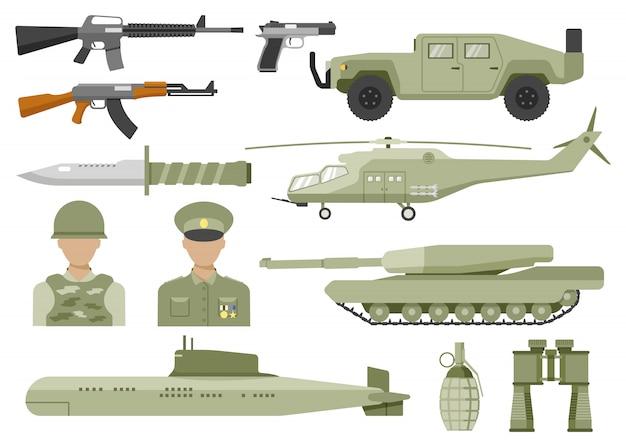 Conjunto de iconos planos decorativos del ejército vector gratuito