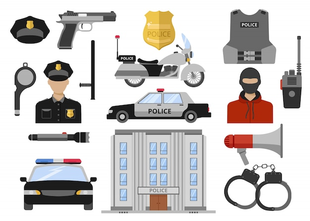 Conjunto de iconos planos decorativos de policía vector gratuito