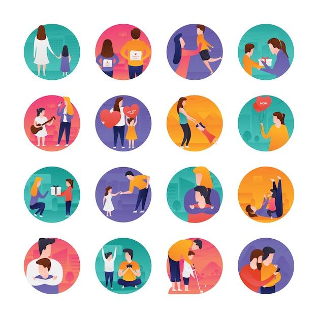 Conjunto de iconos planos del día de las madres y padres Vector Premium