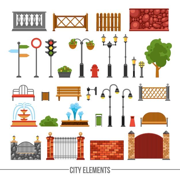 Conjunto de iconos planos de elementos de la ciudad vector gratuito