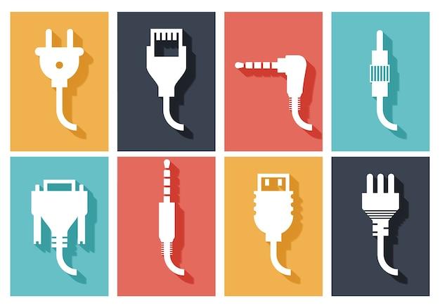 Conjunto de iconos planos de enchufe eléctrico vector gratuito