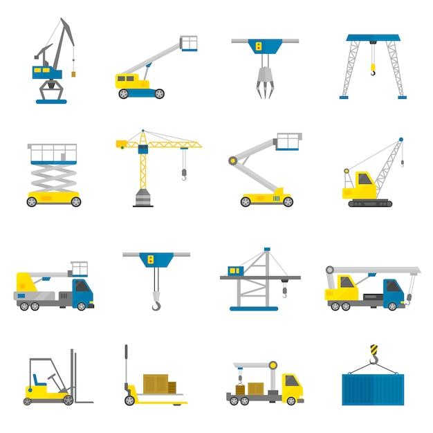 Conjunto de iconos planos de equipos de elevación vector gratuito