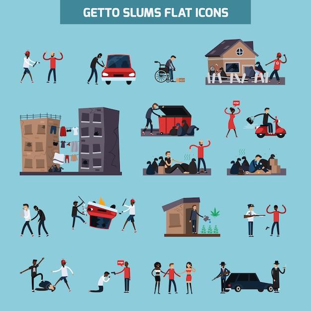Conjunto de iconos planos ghetto slum vector gratuito