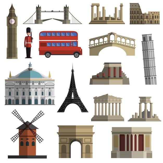 Conjunto de iconos planos de hito de viaje vector gratuito