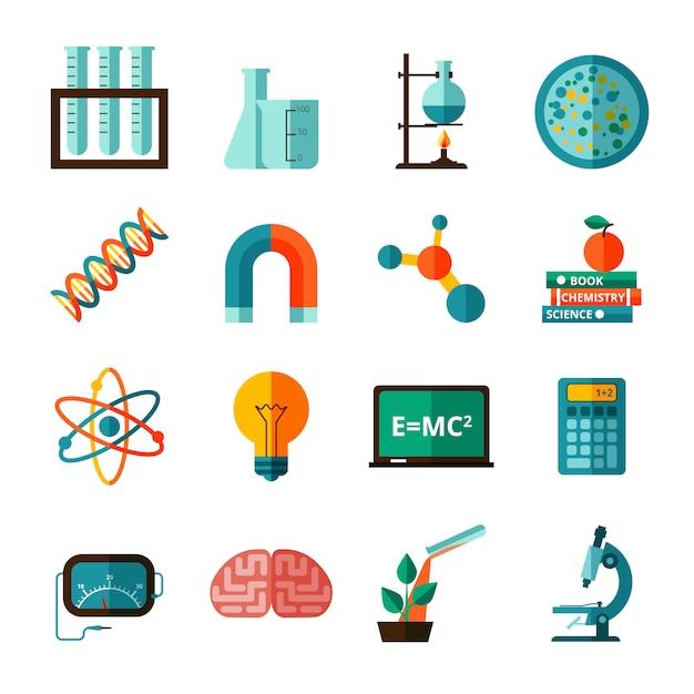 Conjunto de iconos planos de iconos de ciencia vector gratuito