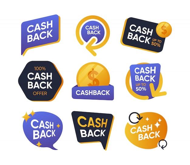Conjunto de iconos planos de insignias de devolución de dinero vector gratuito