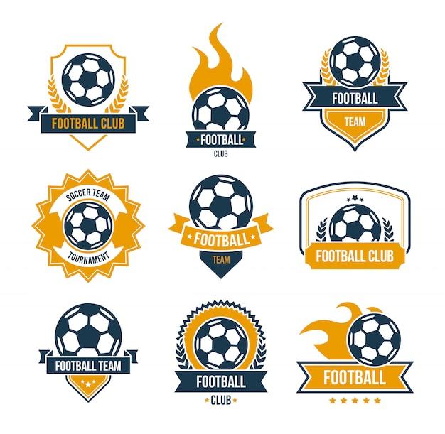 Conjunto de iconos planos de insignias de fútbol vector gratuito