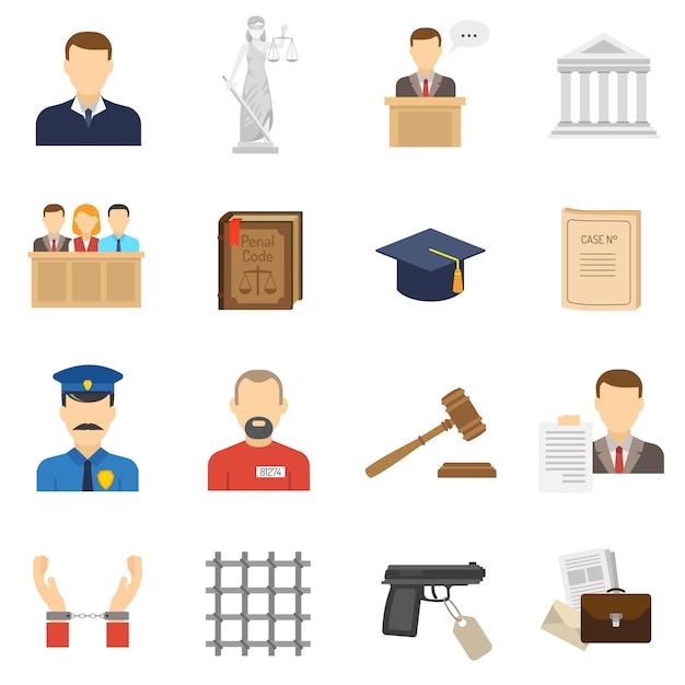 Conjunto de iconos planos de justicia vector gratuito
