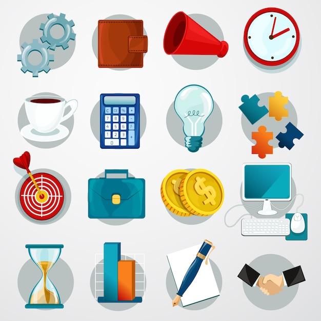 Conjunto de iconos planos de negocios vector gratuito
