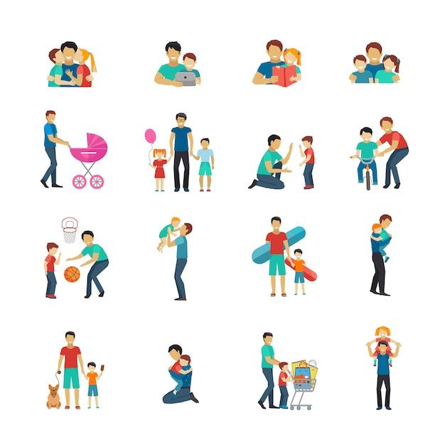 Conjunto de iconos planos de paternidad con padre jugando con niños. vector gratuito
