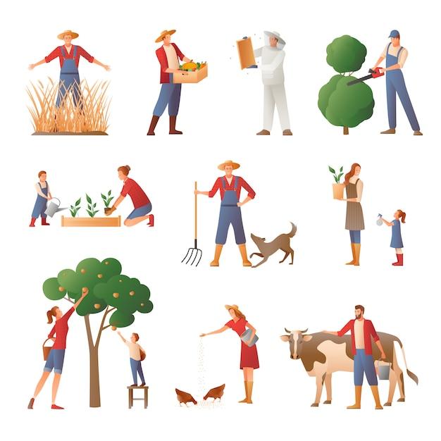 Conjunto de iconos planos de personas en la agricultura vector gratuito