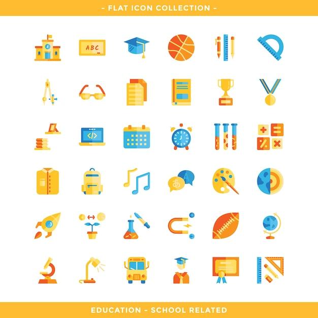 Conjunto de iconos planos relacionados con la educación y la escuela Vector Premium