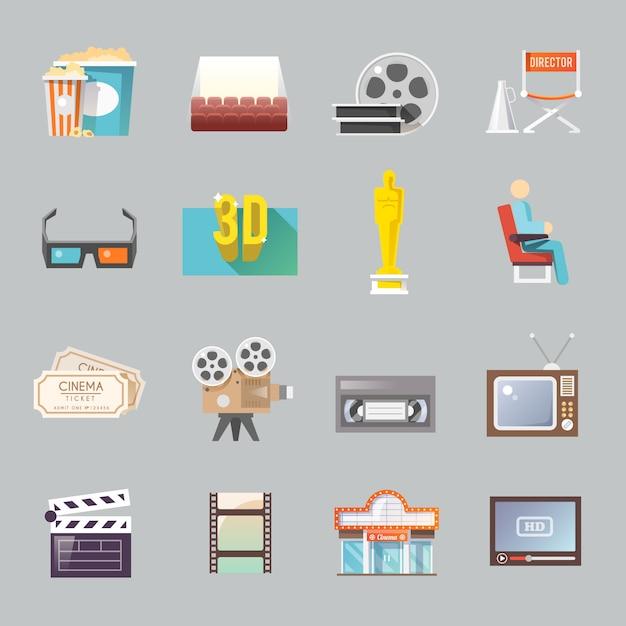 Conjunto de iconos planos retro cine vector gratuito