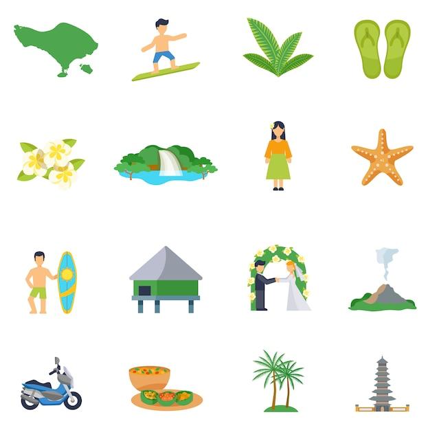 Conjunto de iconos planos sobre bali vector gratuito