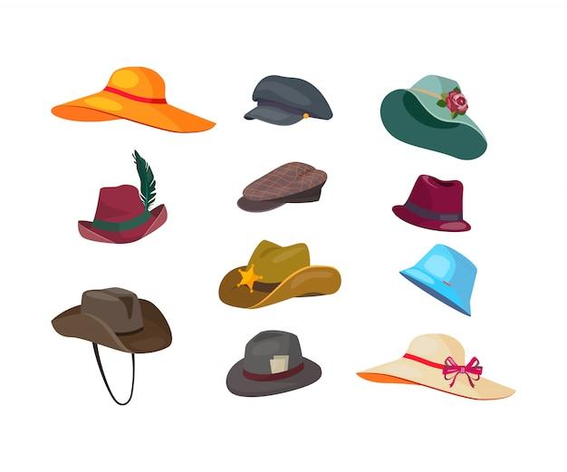 Conjunto de iconos planos de sombreros de hombre y mujer vector gratuito