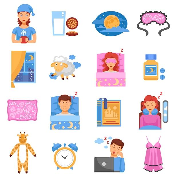 Conjunto de iconos planos de sueño saludable vector gratuito
