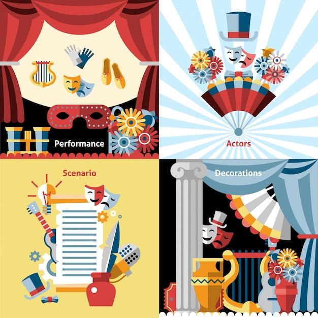 Conjunto de iconos planos de teatro vector gratuito