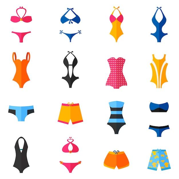 Conjunto de iconos planos de trajes de baño vector gratuito