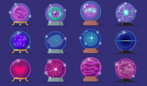 Conjunto de iconos planos de varias bolas mágicas vector gratuito
