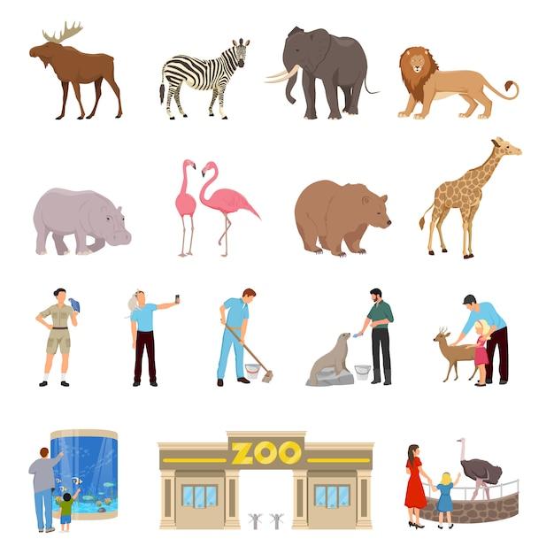 Conjunto de iconos planos de zoológico vector gratuito