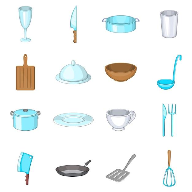Conjunto de iconos de platos básicos Vector Premium