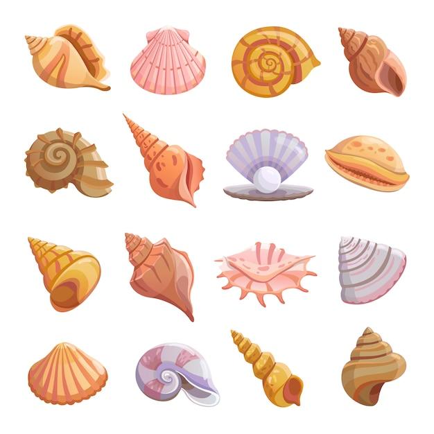 Conjunto de iconos de playa de concha de mar Vector Premium