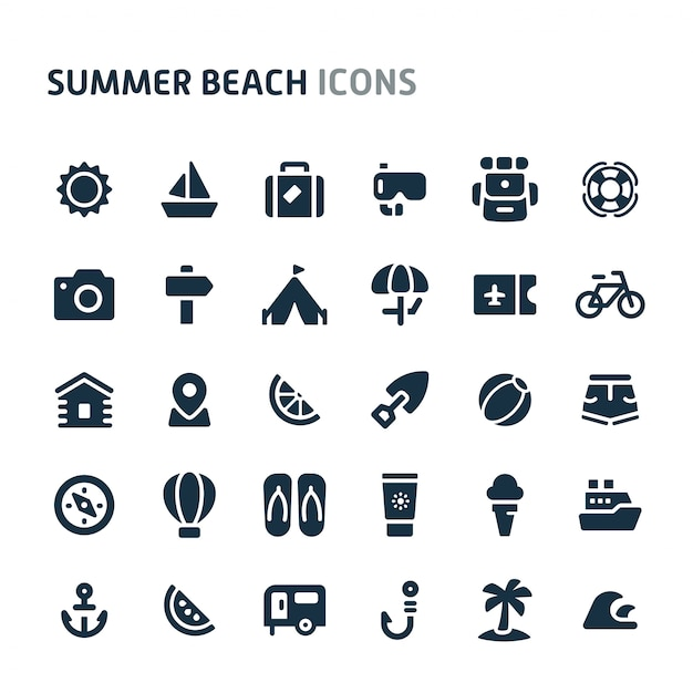 Conjunto de iconos de playa de verano. fillio black icon series. Vector Premium