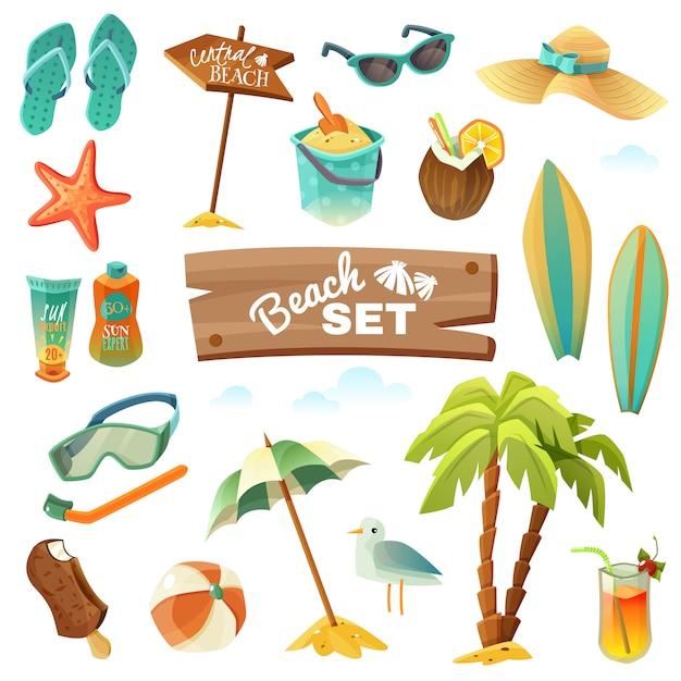 Conjunto de iconos de playa Vector Premium