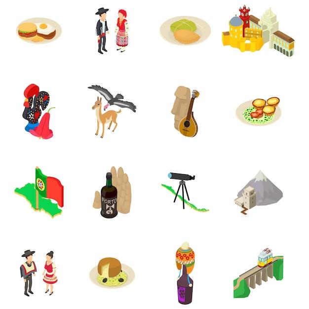 Conjunto de iconos de portugal Vector Premium