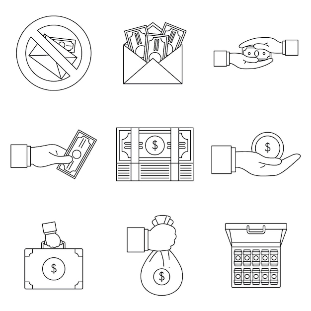 Conjunto de iconos de prácticas corruptas de soborno Vector Premium