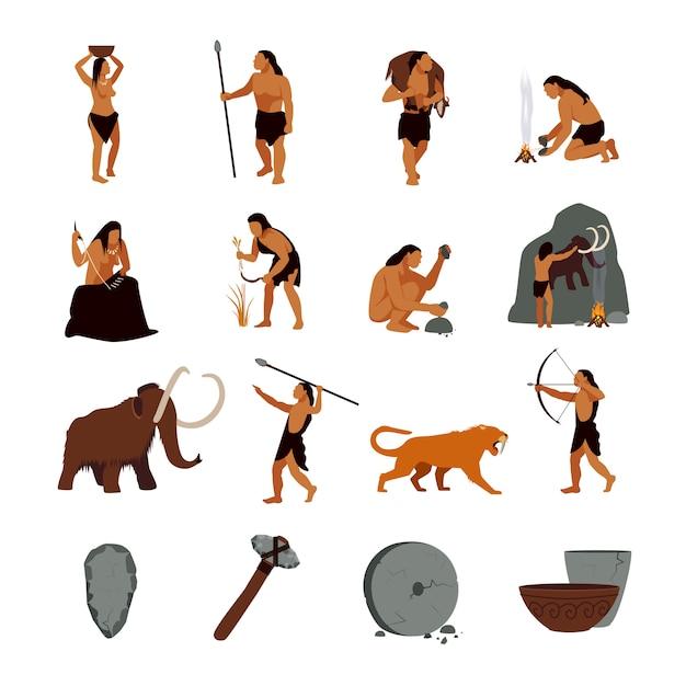 Conjunto de iconos prehistóricos de la edad de piedra vector gratuito