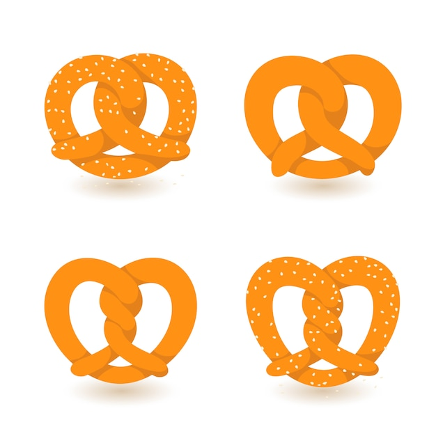 Conjunto de iconos de pretzel Vector Premium