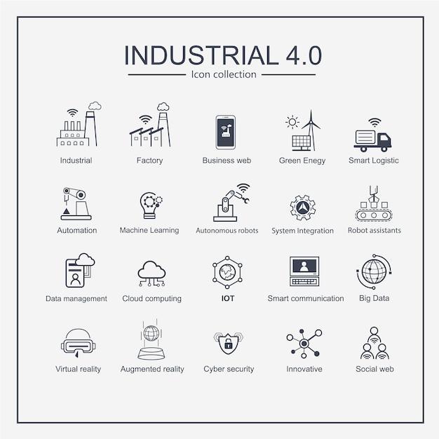 Conjunto de iconos de producciones industriales inteligentes de la industria 4.0. Vector Premium