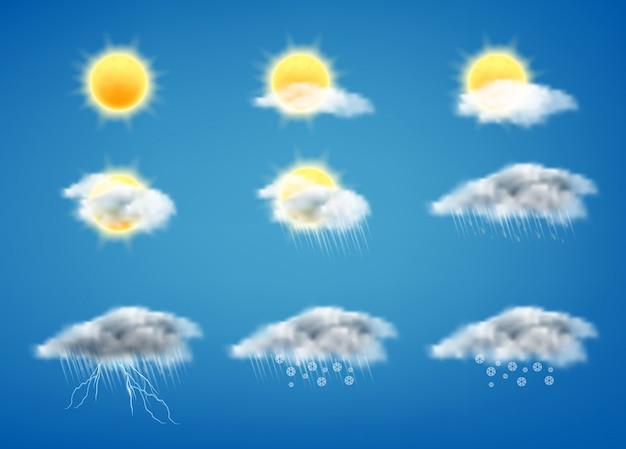 Conjunto de iconos de pronóstico del tiempo para interfaces web o aplicaciones móviles vector gratuito