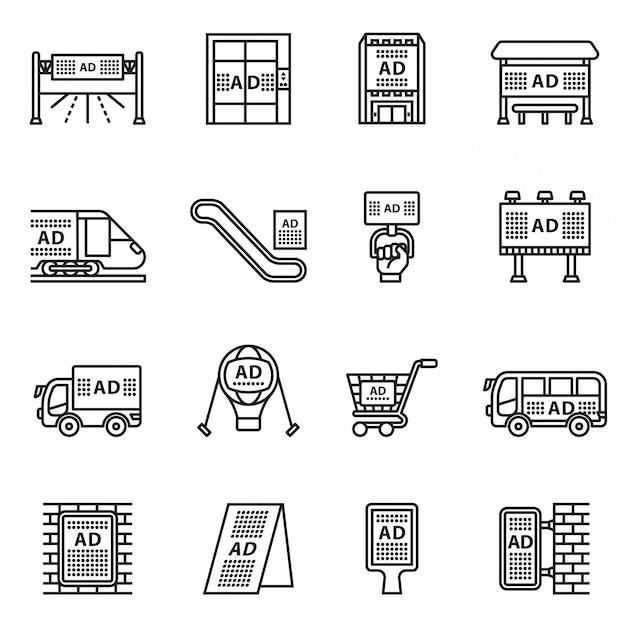 Conjunto de iconos de publicidad exterior, comercial y de marketing. línea estilo stock vector. Vector Premium