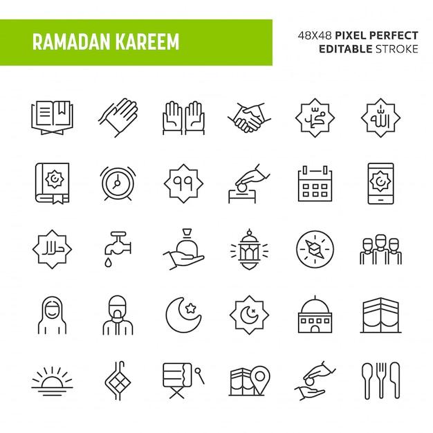 Conjunto de iconos de ramadán kareem Vector Premium