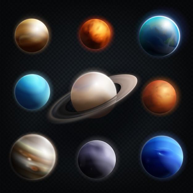 Conjunto de iconos realista planeta vector gratuito