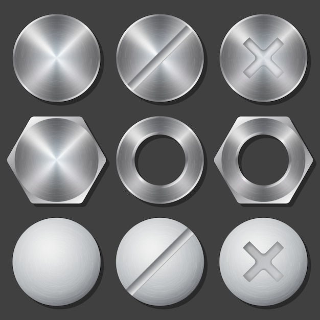 Conjunto de iconos realistas de tornillos, tuercas y pernos. remache y perno, cruceta y hexagonal, engranaje fijo, ilustración vectorial vector gratuito